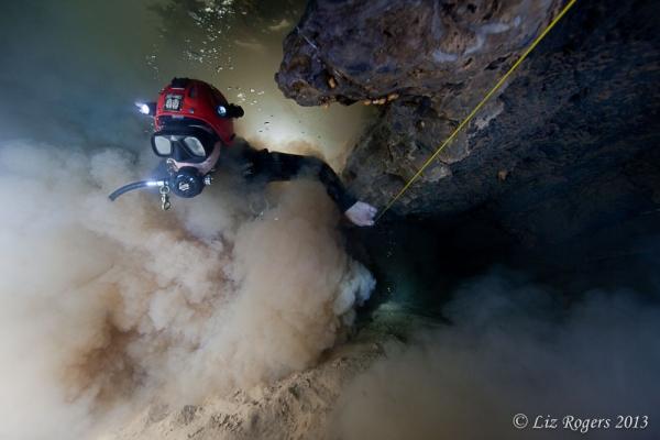 June: Clouds of silt in sump 4 in Elk River Cave